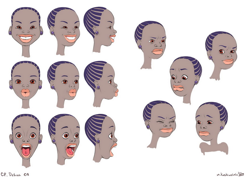 Character design. Expressions. Debrah