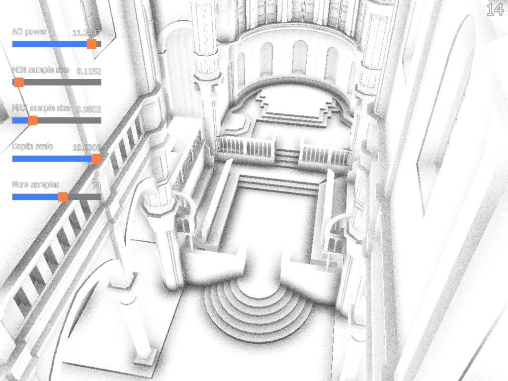 ao-demo | Screen space ambient occlusion с учетом нормалей и расчет одного отражения света. (комментарии)