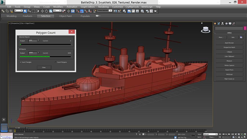 battle_ship_grid_1024 | Низкополигональное моделирование корабля по шпангоутам в 3D Max