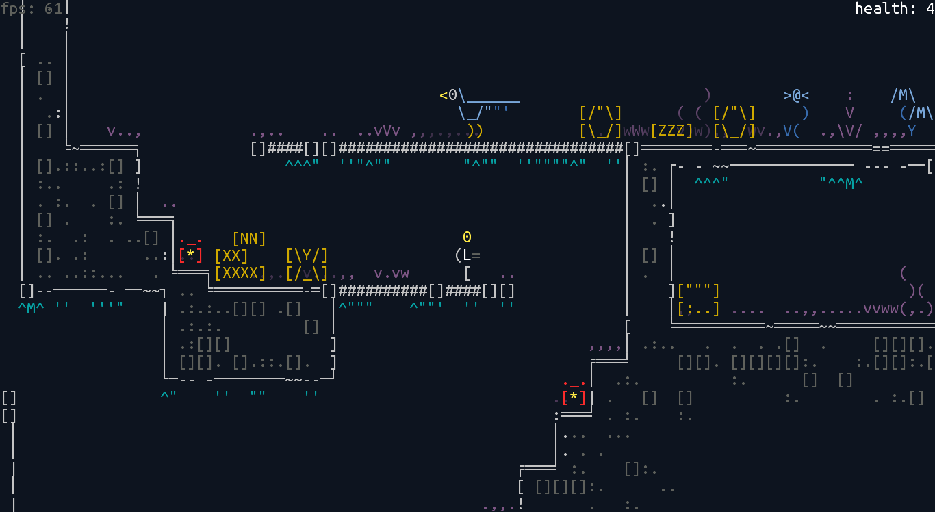 screen_1 | Unsigned Character  0.6.0 [ASCII-платформер с процедурной генерацией]