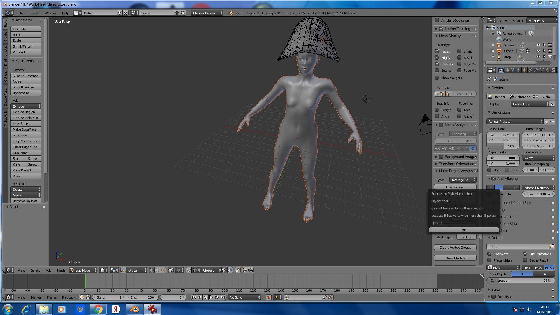 coat | Создание шляпы в Blender для Makehuman
