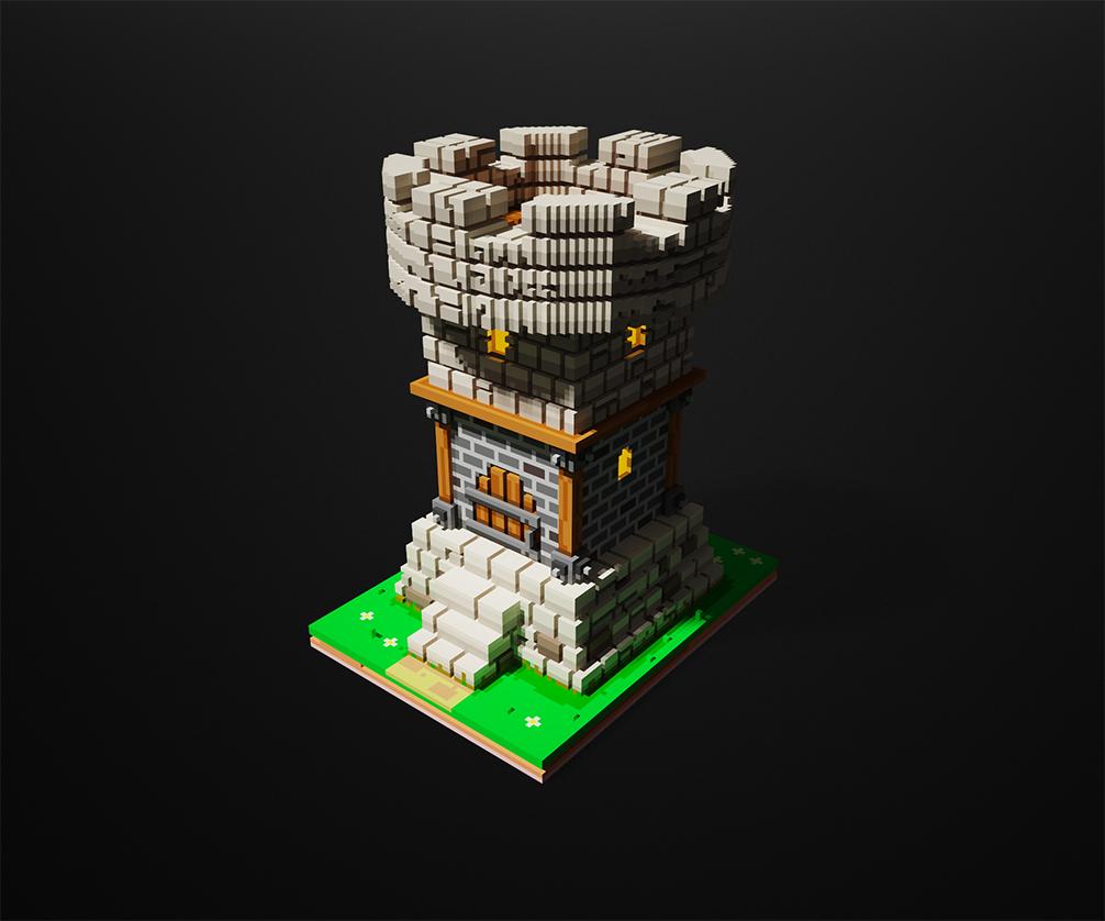 Очередная башня | Решил попробовать Magica Voxel