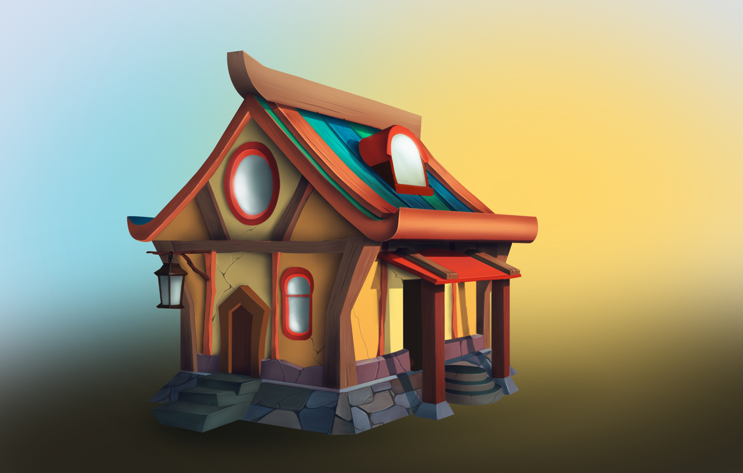 house   2D Casual ,Environment concept art, очень нужна оценка и мнение