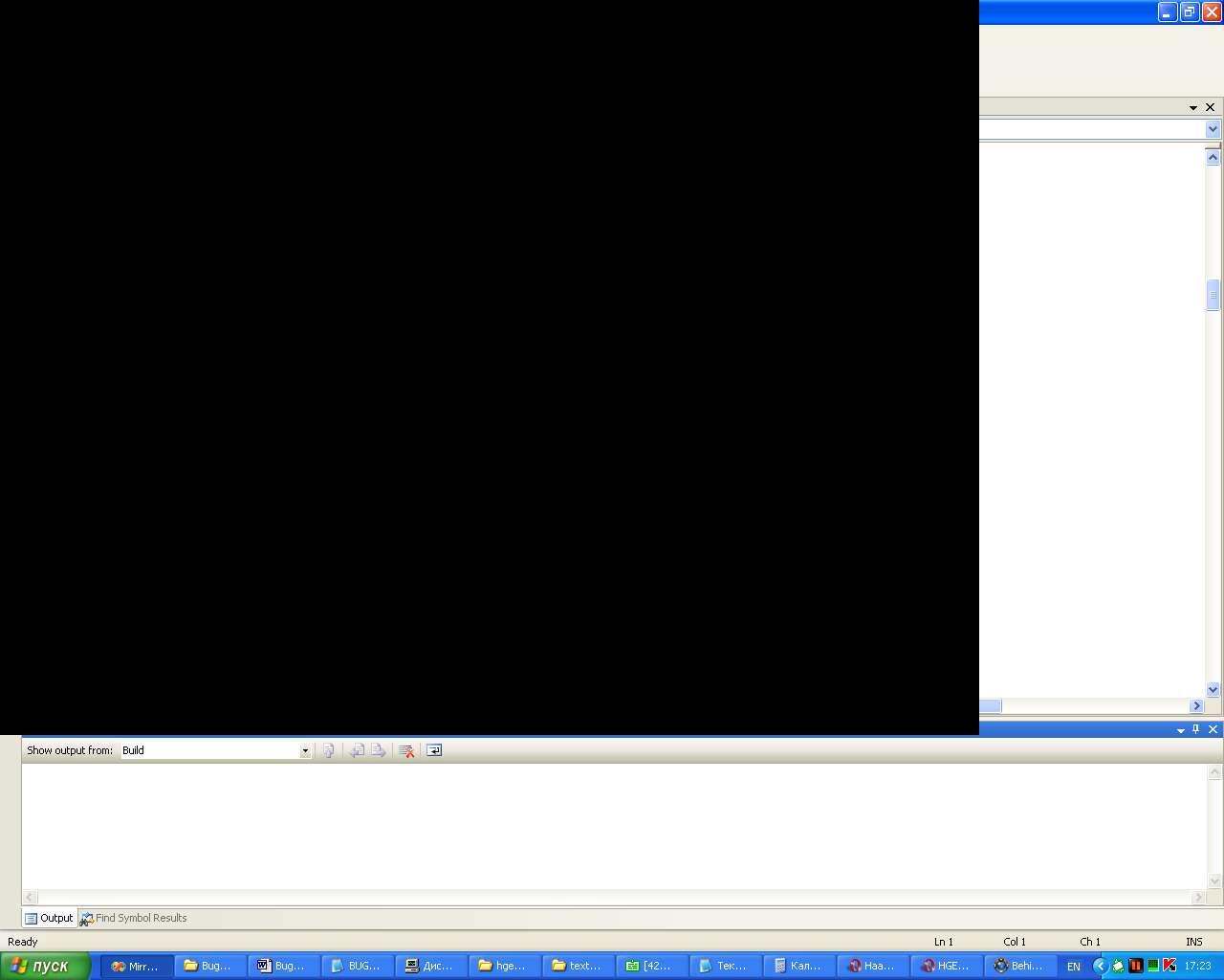 черная область размера окна приложения