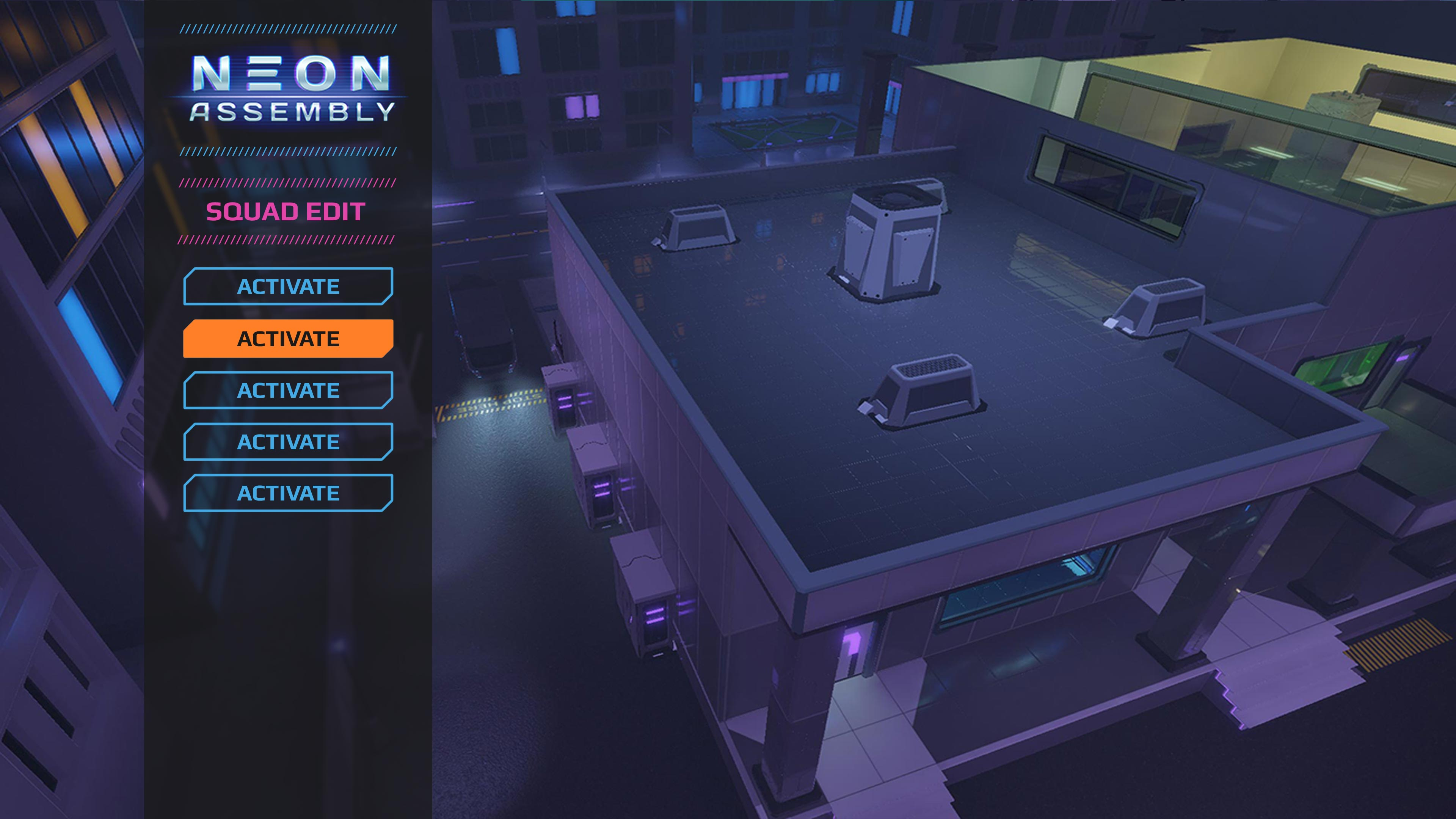 !MainManu | NEON ASSEMBLY. A competetive multiplayer turn based tactics game. [ Demo Finished. Билд в теме ]