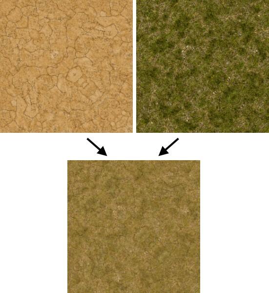 alphablend | Пример смешивания текстур ландшафта в Titan Quest.