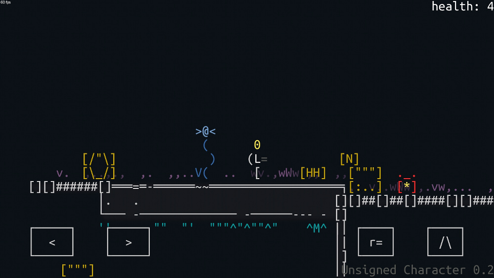 android_screen | Unsigned Character  0.6.0 [ASCII-платформер с процедурной генерацией]