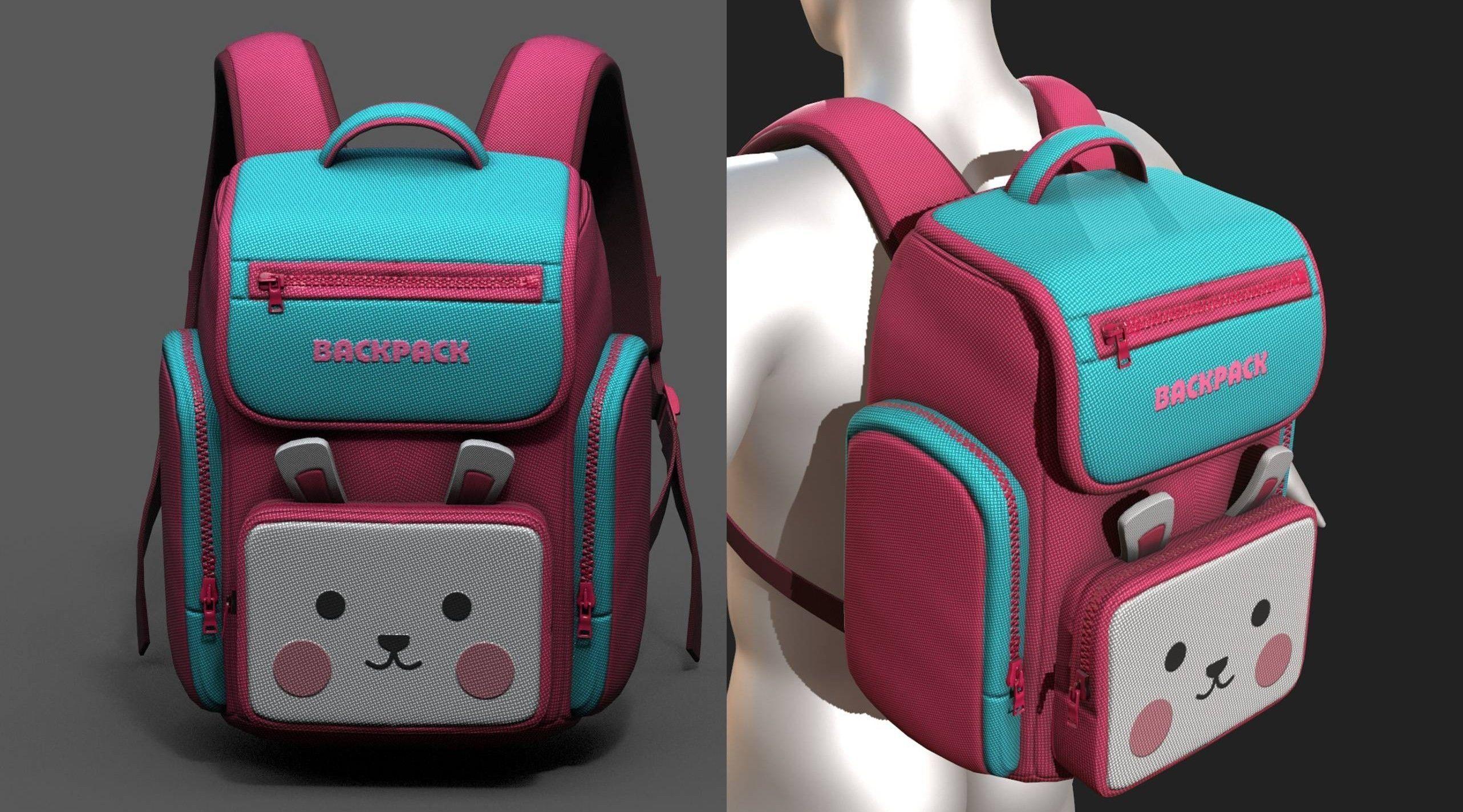 backpack-camping-toy-color-baggage-bag-3d-model-low-poly-obj-fbx-ma | 3d artist