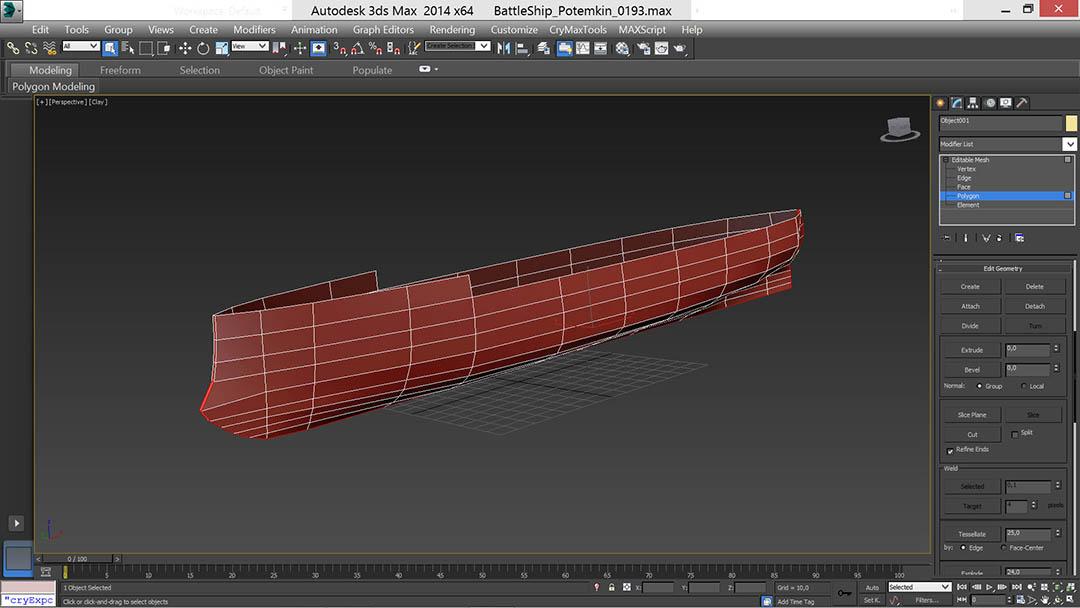 battle_ship_00_t | Низкополигональное моделирование корабля по шпангоутам в 3D Max