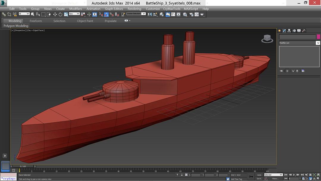 battle_ship_04_t | Низкополигональное моделирование корабля по шпангоутам в 3D Max