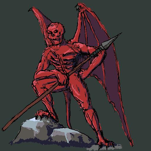 Демон с копьем. Эскиз. | Экспериментальная sci-fi RTS (переименовано)
