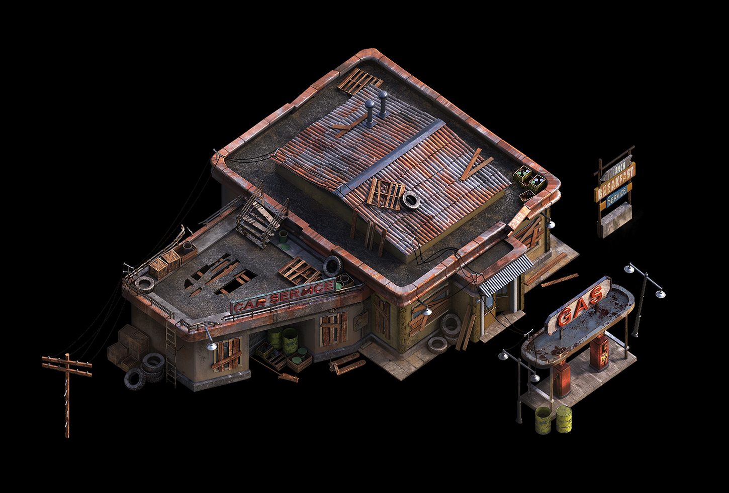 Gas_Station_01 | ✏️2D/3D Environment Artist PRG/Action/RTS/Moba/Isometric