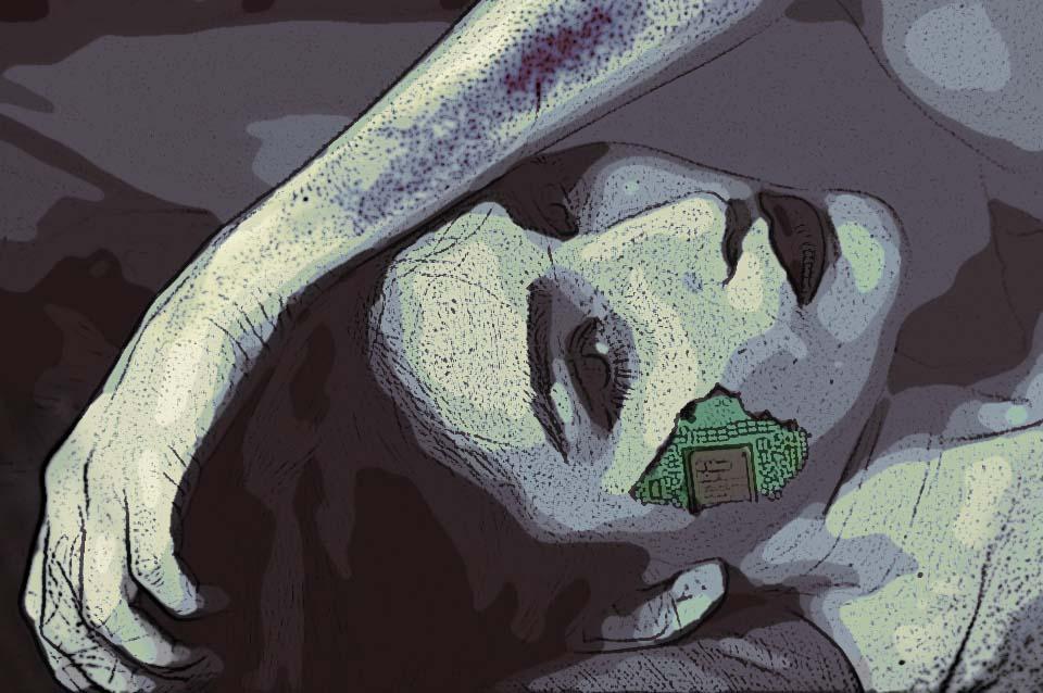 Девушка-киборг повреждена | Киберпанк-город - придумываем игру