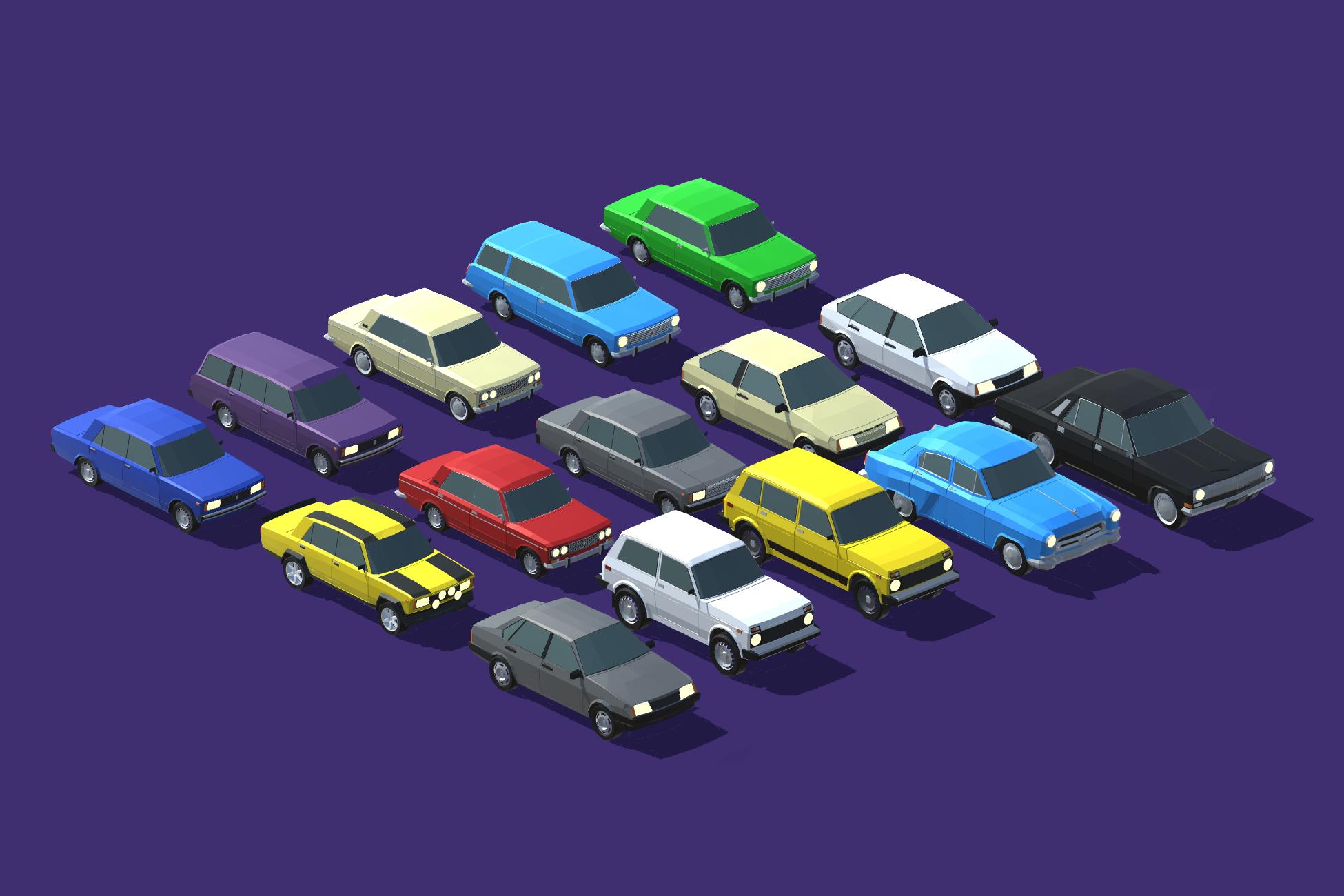 15 автомобилей советского автопрома, Low-poly | 3D моделлер, ищу разовые заказы/команду инди разработчиков