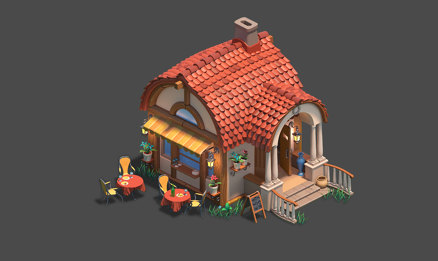 Iso_cafe_1450 | ✏️2D/3D Environment Artist PRG/Action/RTS/Moba/Isometric