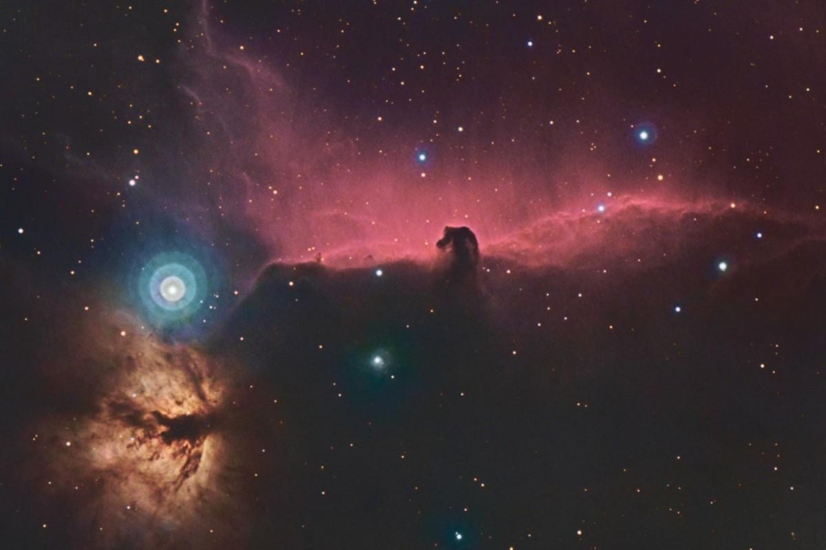Туманности Конская Голова и Пламя, цвет