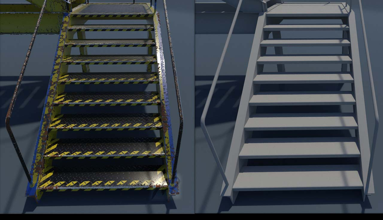 ladder f | 3d Environment, Props Artist. H\M\L poly. Classic, Tile, PBR. UV. Realistic\Casual, Render 2D.