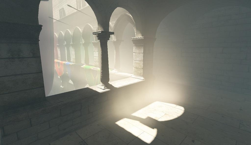 Взаимодействующая среда (однородный туман, однократное рассеяние). | Объемы распространения света для непрямого освещения в режиме реального времени.
