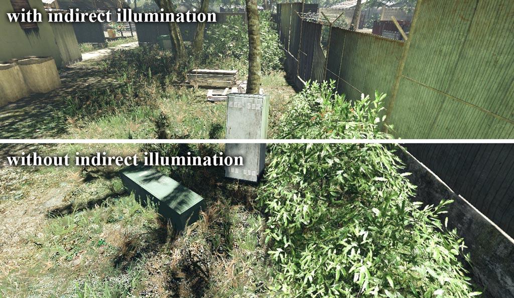 Непрямое освещение от растительности | Объемы распространения света для непрямого освещения в режиме реального времени.