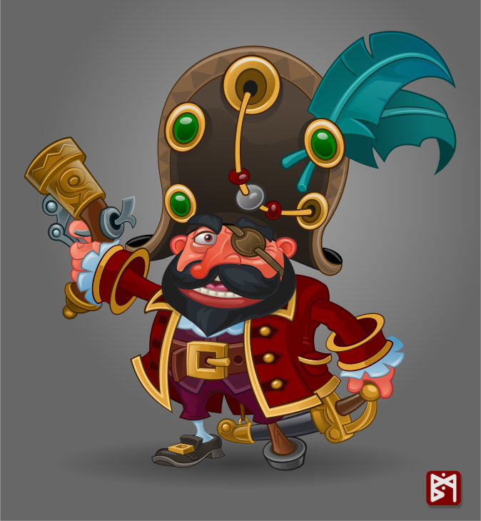 Пират с черной бородой | 2d/3d художник