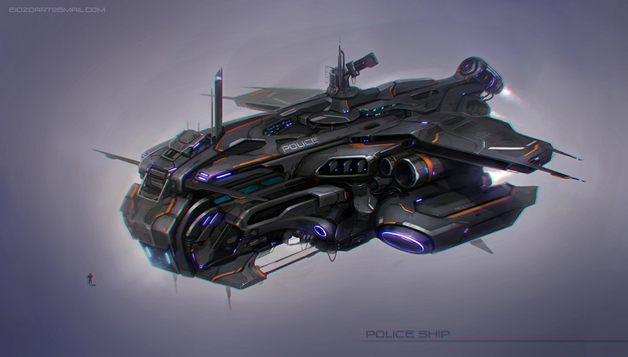 Police ship | ◄Concept Artist►[Sci-fi, fantasy, medieval, post-apocalyptic, military и т.д.]