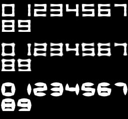 Процедурный шрифт - первая проба (цифры, разный кегль)