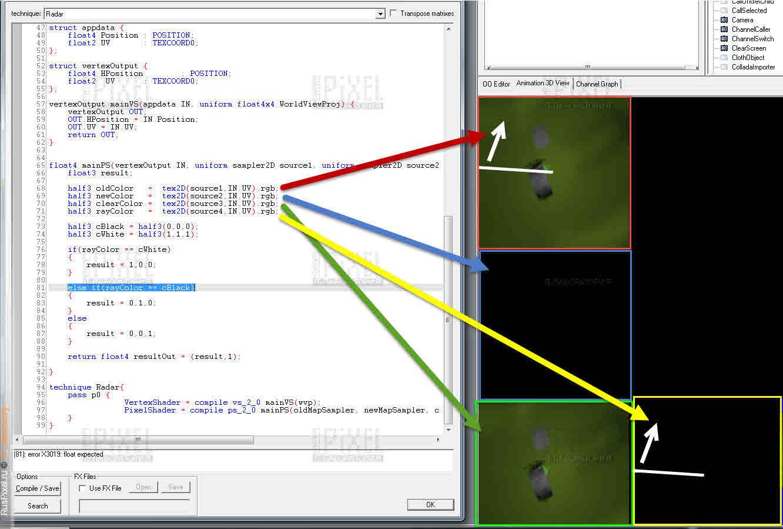 Скриншот шейдера для радара