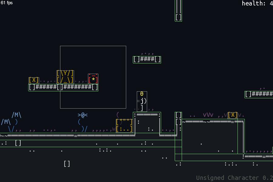 screen_box2d | Unsigned Character  0.6.0 [ASCII-платформер с процедурной генерацией]