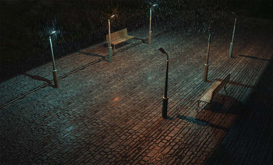 Скриншот, дождь   SHADER-ART CONTEST [фонари, дождь]