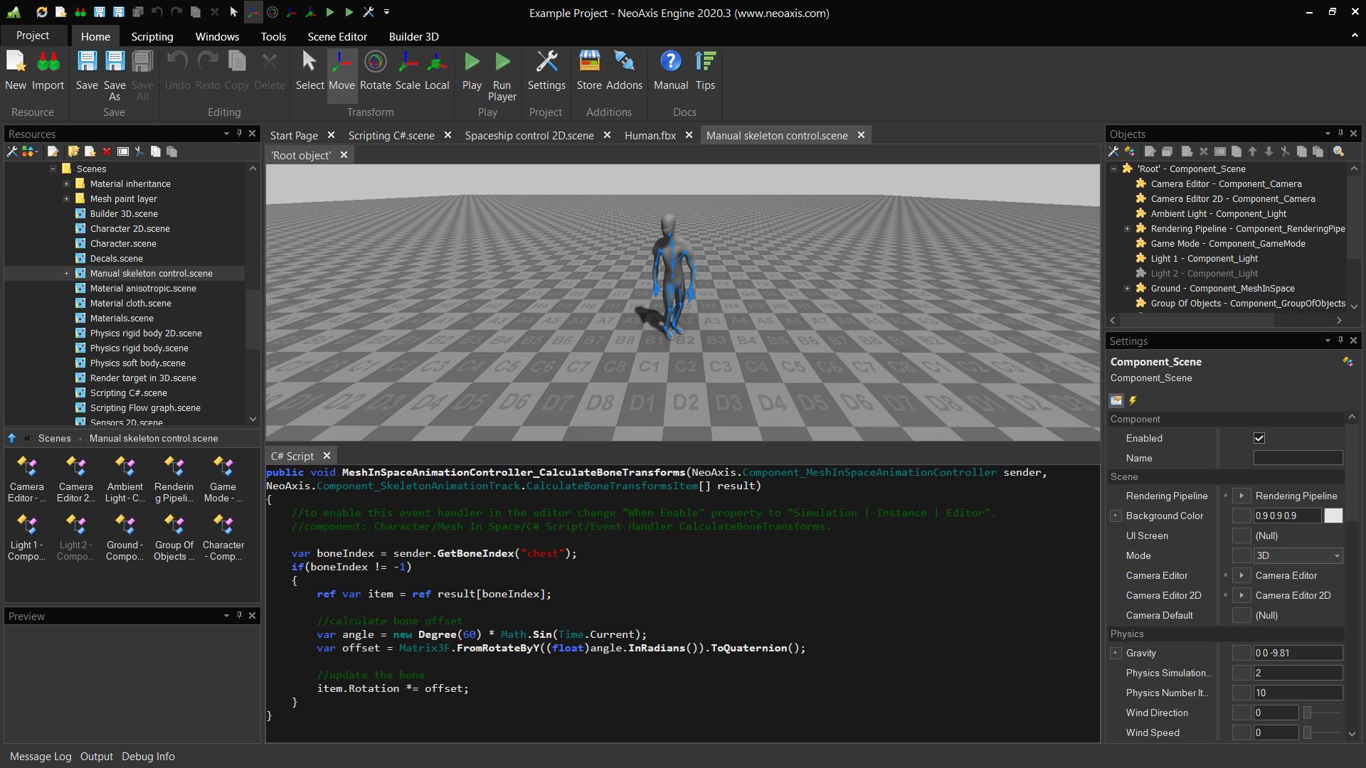 NeoAxis Engine Manual Skeleton Control | NeoAxis Engine, 3D/2D игровой движок, теперь Open Source