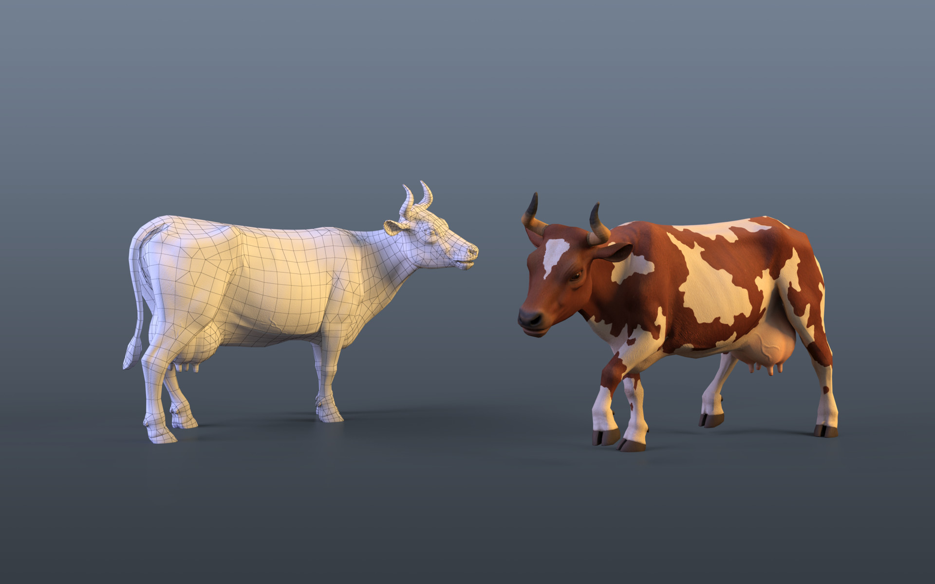 sergey-abanin-cow-low-poly | 3d artist