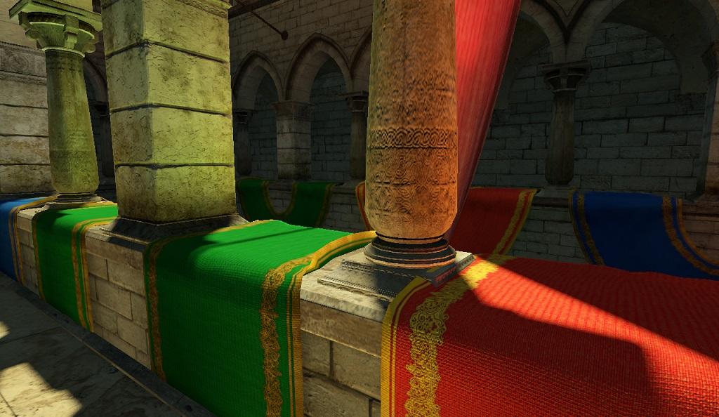Сцена Crytek Sponza | Объемы распространения света для непрямого освещения в режиме реального времени.