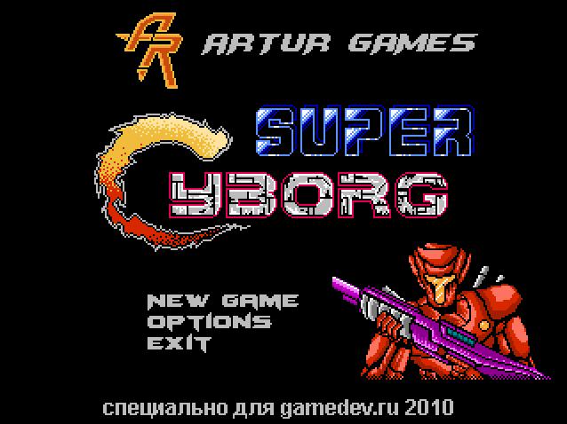 startscreen | Shoot'em'up - Super Cyborg [Steam] [Android] [Linux demo]