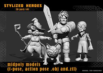 StylizedHeroes_v01_Screen_01low | Скачиваемые 3D модели стилизованных персонажей
