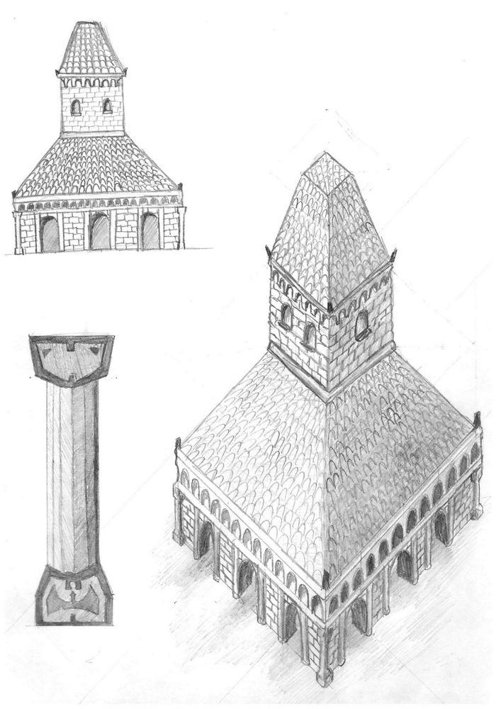 храм боевых искусств - набросок бумажный | Точкорасставителя-цифрохудожника уголок