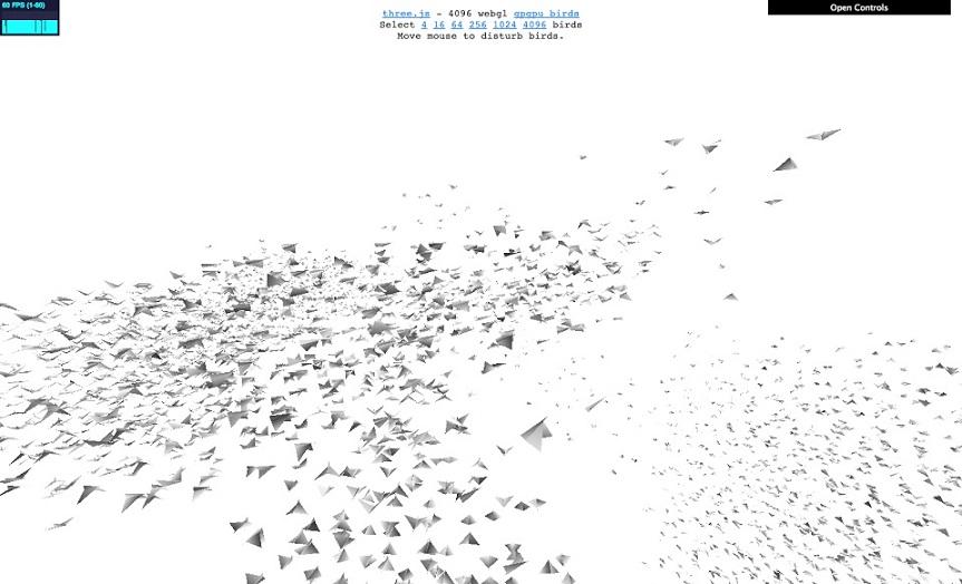 three.js webgl - gpgpu - flocking