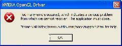 OpenGL driver error