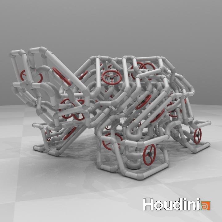 Turtle_pipe_1 | Houdini technical artist / 3D modeller