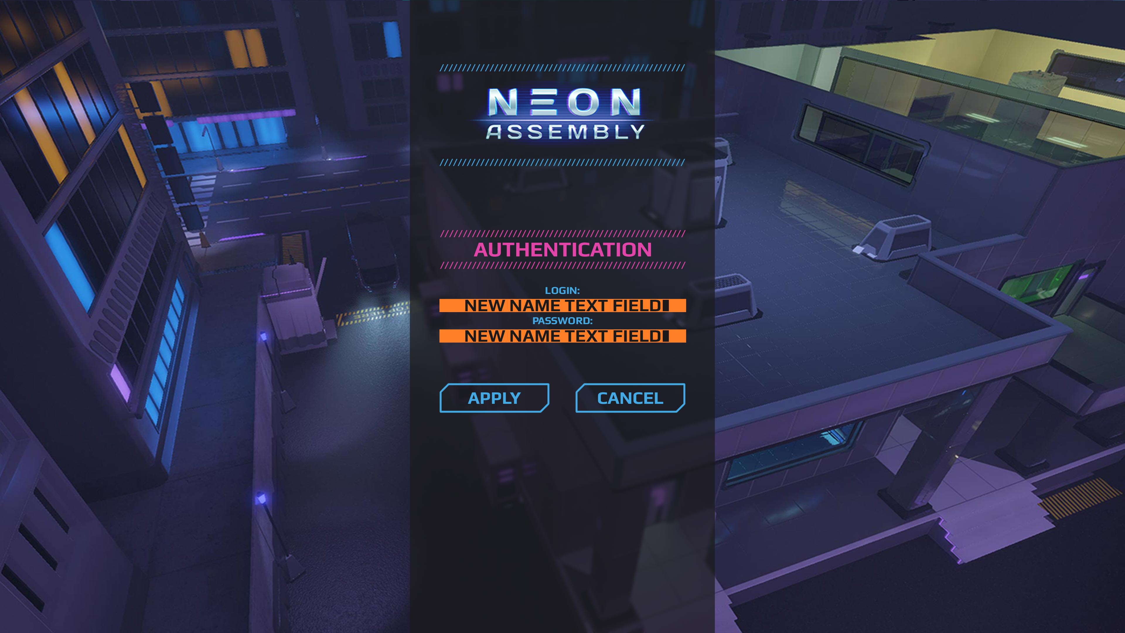 UI_Menus_Auth | NEON ASSEMBLY. A competetive multiplayer turn based tactics game. [ Demo Finished. Билд в теме ]