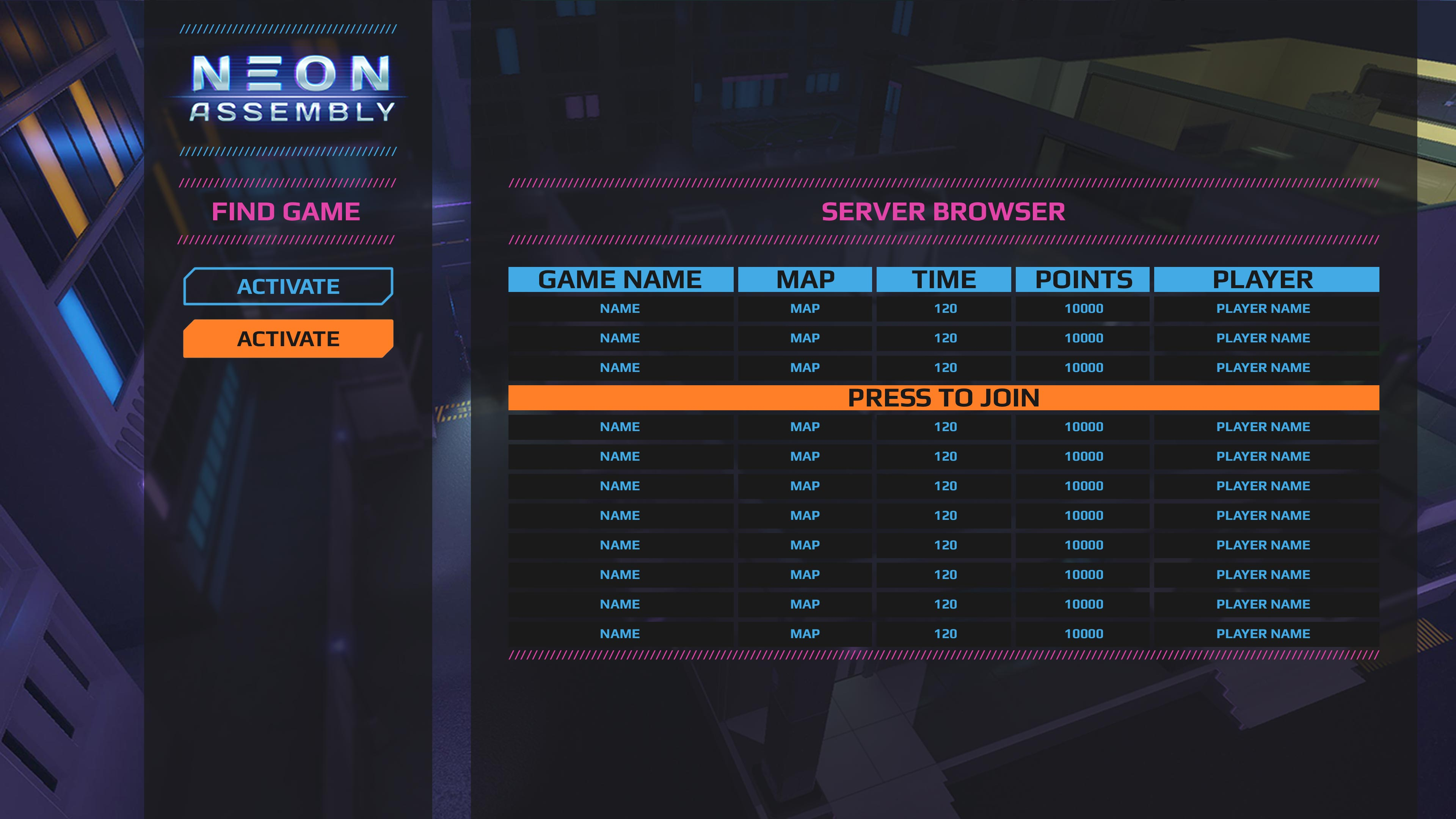 UI_Menus_ServerBrowser | NEON ASSEMBLY. A competetive multiplayer turn based tactics game. [ Demo Finished. Билд в теме ]