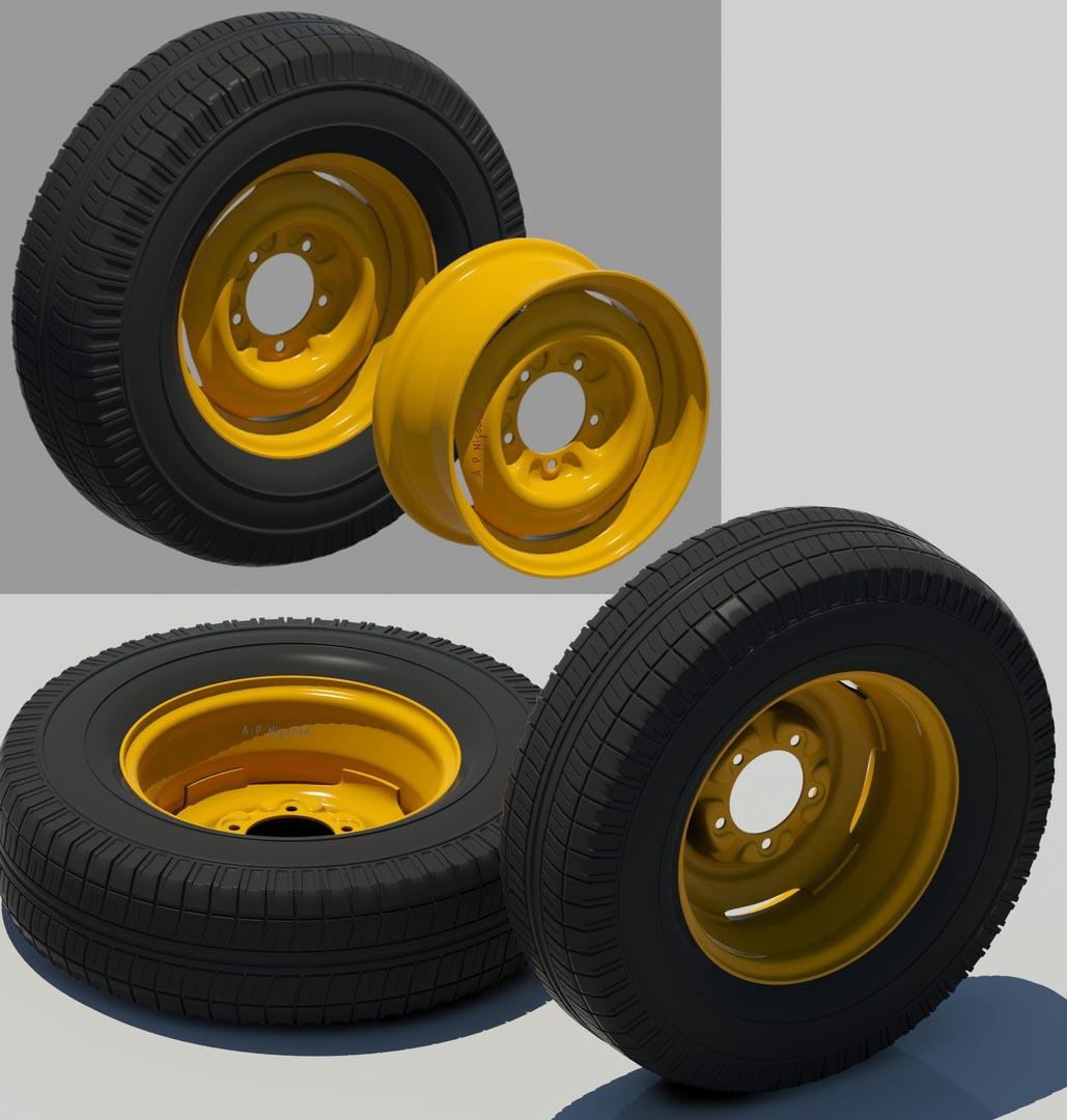 wheel1 | 3d Environment, Props Artist. H\M\L poly. Classic, Tile, PBR. UV. Realistic\Casual, Render 2D.