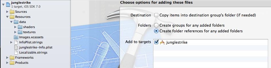 xcode-add-folder | Игры на OpenGL для iOS. Быстрый старт.